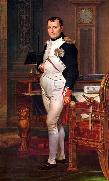 Napoloen holding his ulcer.