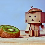 Danbo with a kiwi on his head